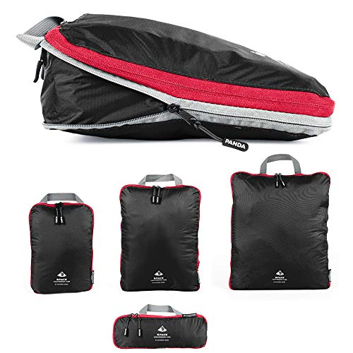 Packtaschen Set mit Kompression | ultraleichte Packwürfel für Rucksack und Koffer | wasserabweisende Compression Packing Cubes als Gepäck Organizer und Kleidertasche (Black, Set (1 XL,1 L, 1 M, 1 S)) (Gepäck Cubes Reisen)