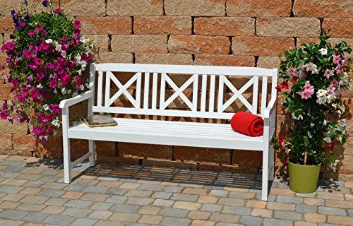 Weiße Gartenbank mit einer roten Auflage Dreisitzer 158 x 61 x 89 cm - 6