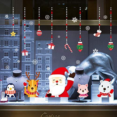 Wandaufkleber ZOZOSO Bunte Santa Claus Charm Christmas-Wandaufkleber-Weihnachtstag-Fenster-Glasdekoration