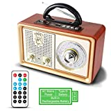 Radio MP3 Portable PRUNUS Bluetooth M-110BT FM/AM(MW) SW. avec façade Classique Imitation Bois Retro Vintage. Haut-parleurs 3W intégrés, Pas de Prise écouteur. (Gold)