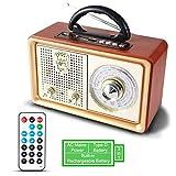 Radio MP3 PORTÁTIL Bluetooth PRUNUS M-110BT FM Am (MW) SW AUX. con Altavoz clásico de Madera...