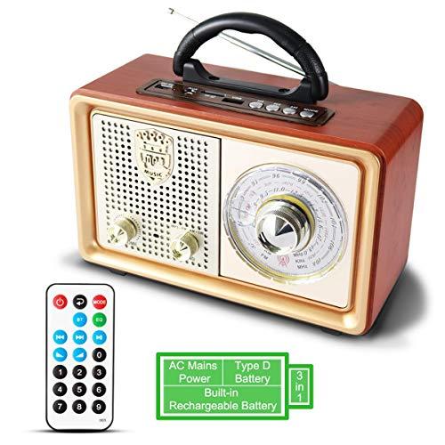 PRUNUS M-110BT UKW FM AM(MW) SW AUX tragbares Bluetooth MP3-Radio. Mit klassischem Vintage Holz im Retro Design. Mit eingebautem 3W Lautsprecher ohne Kopfhöreranschluss. (Bluetooth-und Am-fm-lautsprecher)