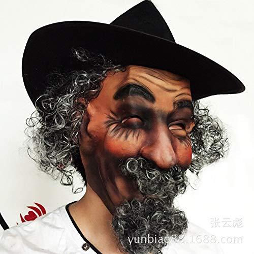 Sclmj maschera del lattice del costume del partito di halloween della maschera di capelli ricci creativi di simulazione creativa