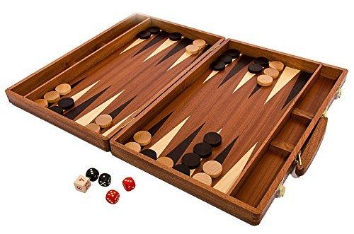 ¡Backgammon exclusivo 50 cm x 38 cm madera mano a mano con incrustaciones caoba Cassette!!!!!!