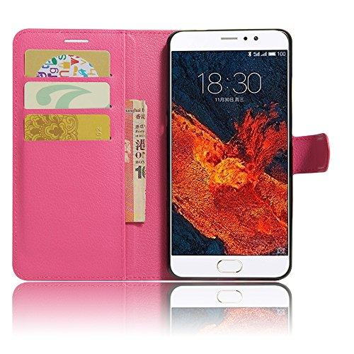 GARITANE Meizu Pro 6 Plus Hülle Case Brieftasche mit Kartenfächer Handyhülle Schutzhülle Lederhülle Standerfunktion Magnet für Meizu Pro 6 Plus (Hot Pink)