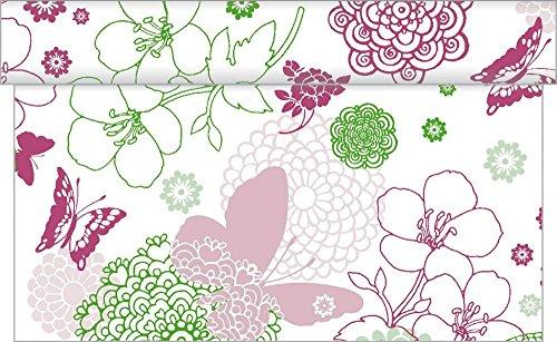 Sovie HORECA Tischläufer Luisa / Linclass® Airlaid Tischläufer 40cm x 24m / Tischdecken-Rolle stoffähnlich / Einmal-Tischdecke für Hochzeit & Partys Pink-Grün