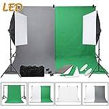 SBARTAR - Fotostudio Set Studioleuchte Fotografie Set inkl. 4X Fotohintergrund grau 2X weiß grün 2 * 3M Hintergrundsystem 2x50*70CM Dauerlicht Softbox 2X LED Fotolampe 3X Studioklemmern Tragtasche