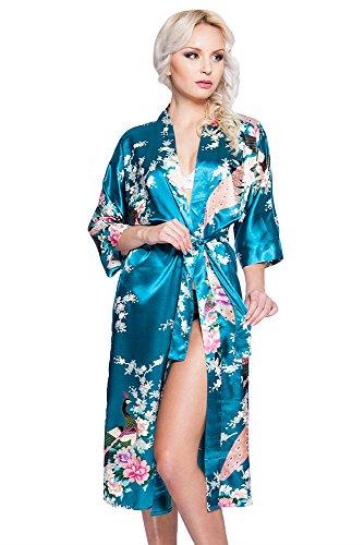 Edler Morgenmantel Kimono aus Satin türkis Größe S