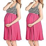 Ropa Embarazadas Verano AIMEE7 Vestido De Maternidad A Rayas Sin Mangas (L, Rosa Rojo)