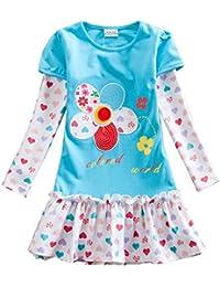 VIKITA Vestido para Niñas Manga Larga Algodón Princesa Casuales Bebe Niñas 1-6años