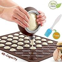 Nifogo Macaron Molde - 48 Capacidad Macaron Silicone Baking Mat y Decorating Pen Icing Tips con 4 boquillas (Café+Cepillo de Aceite)