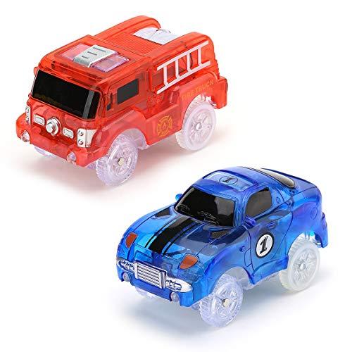 e Auto Spielzeuge mit Blinklicht und Nachtlicht, Bunte Flash-Auto Spielzeuge,Fahrzeuge Geschenkset für Kinder Jungen (Feuerwehrauto+Rennwagen) ()