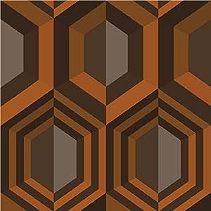 muriva papier peint motif hexagone orange. Black Bedroom Furniture Sets. Home Design Ideas