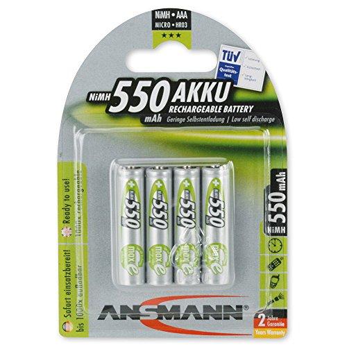 ANSMANN wiederaufladbar LSD Akku Batterie geringe Selbstentladung Micro AAA 550mAh maxE NiMH vorgeladen sofort einsatzbereit ohne Memory-Effekt ready to use 4er Pack