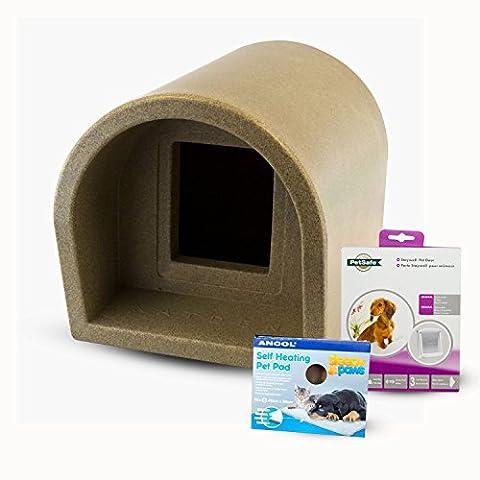 Mr Snugs KatDen Outdoor Cat Kennel/Shelter - Granite (Various Options) - Kennel, Door & Self Heating Pet