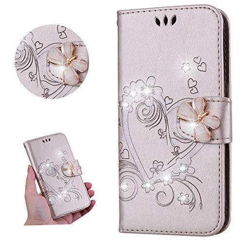 Miagon für Samsung Galaxy A70 Leder Hülle,Diamant Schmetterling Geprägt Liebe Herz Blumen Magnetverschluss Kunstleder im Bookstyle Schutzhülle Beirftasche