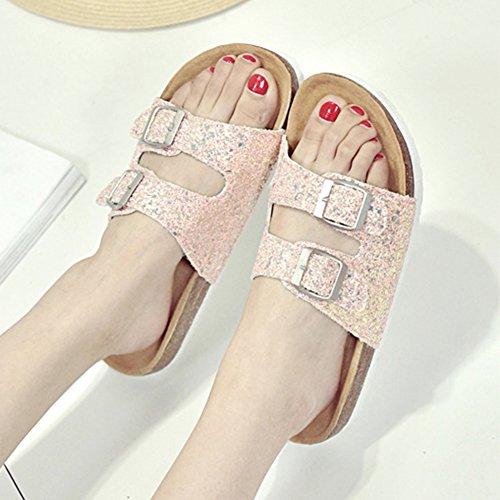 Sandales Paillettes, Mules Chaussures Para Femme - Sandales Chaussures de Plage pink