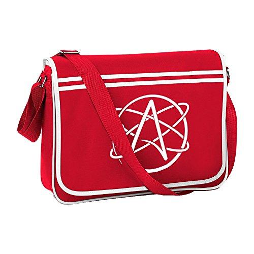 Ice-Tees Atheist Non-believer Logo Retro-Messanger-Schultertasche, Rot - rot - Größe: Einheitsgröße