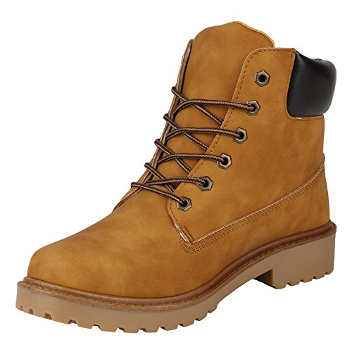 Gefütterte Herrenschuhe Outdoorschuhe Profilsohle Herren Worker Boots Outdoor Stiefeletten Flandell Hellbraun Agueda