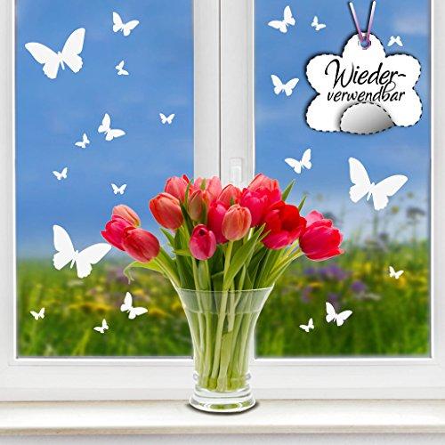 """Fensteraufkleber """"Frühling"""" Schmetterlinge in der Farbe WEIß"""" von Wandtattoo-Loft® / WIEDERVERWENDBAR / 20 Aufkleber im Set / Fensterbilder Ostermotiv / Fensterdeko Set"""