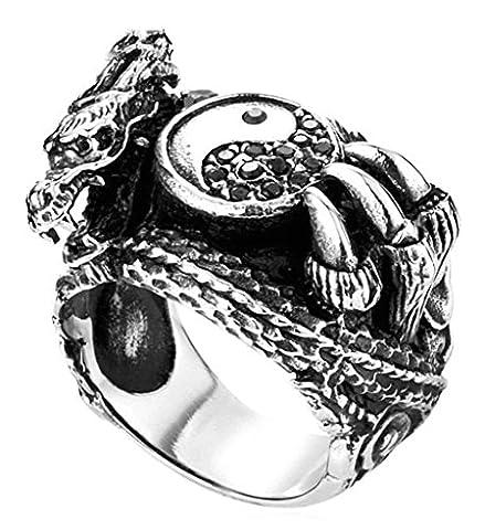 Epinki Acier Inoxydable Homme Cz Bague Gothique Dragon Taiji Yin Yang Bagua Bague Exggerated Bague Taille 56.5