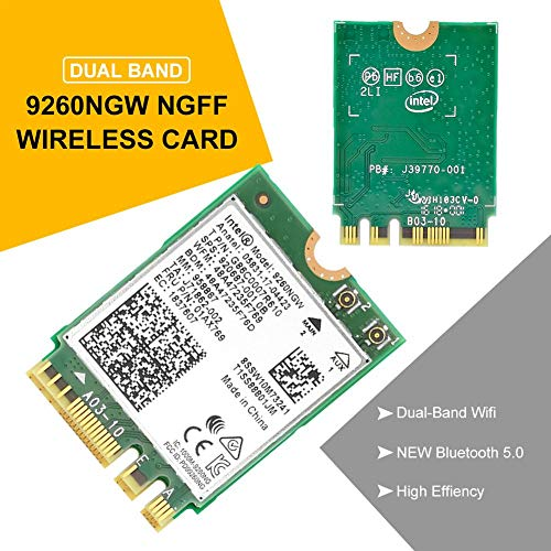 VENTDOUCE 1,73 Gbit/s Wireless 9260NGW NGFF-Netzwerk-WLAN-Karte, Dual-Band-WLAN-Karte Bluetooth 5.0 für Laptop robust Sony Amd Notebooks