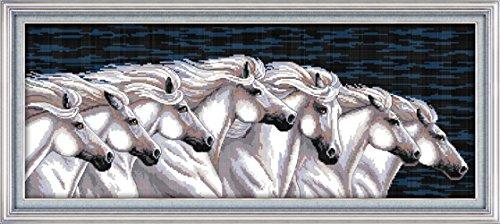 CaptainCrafts Heiß Neue Veröffentlichungen Kreuzstich Kits Muster Stickerei Kit - Galoppieren Ross Eine Gruppe Weißes Pferd (Weiss) (Gezählt Halloween Kreuzstich-muster)