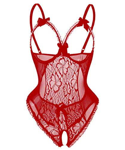 Avondii Damen Transparent Reizwäsche Oberteil Lingerie Bodysuit Nachtwäsche (L, Rot)