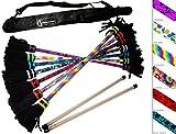 ART-Deco Flowerstick Set (7 Einzigartig Designs) inkl. Handstäbe mit 2 mm Ultra-Griff Silikon + Flames N Games Reisetasche! Super Cool Flower Sticks Lunastix für Anfänger und Profis. (Hippie)
