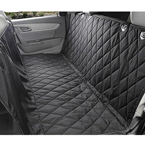 Cubierta de asiento de coche del animal doméstico con anclajes de asiento para coches, camiones y - negro, impermeable y regreso