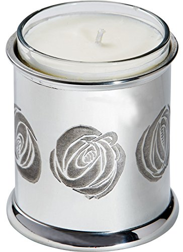 I Luv LTD Candle Holder Pewter Votive Christian Prayer Embossed with Charles Rennie Mackintosh Rose Design -