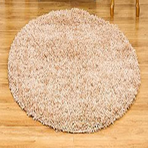 Shaggy Rug Ivory Cream 963 Plain 5cm Thick Soft Pile 120cm (4ft) Round Circle Modern 100% Berclon Twist Fibre Non-Shed Polyproylene Heat Set - AVAILABLE IN 6 SIZES by Quality Linen and Towels