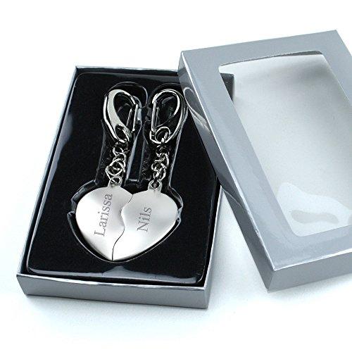 *Herz Schlüsselanhänger geteilte Herzen INKLUSIVE GRAVUR ❤ Geschenk für Paare & Verliebte*