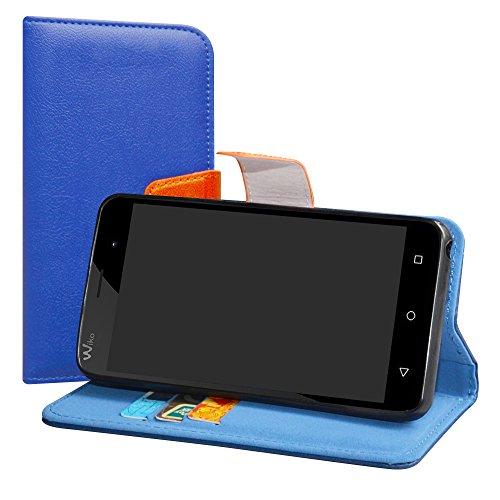 LiuShan Wiko Jerry/Wiko K-Kool Hülle, Brieftasche Handyhülle Schutzhülle PU Leder mit Kartenfächer und Standfunktion für Wiko Jerry/Wiko K-Kool Smartphone,Deep Blue