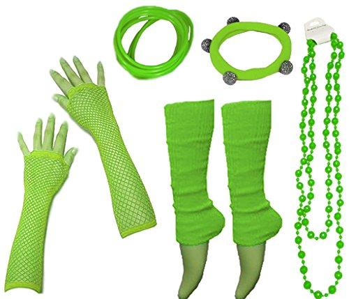 A-Express 80er Damen Neon Beinstulpen Handschuhe Halskette Shamballa Tüll Fluo Ballett Verkleidung Party Tutu Kostüm (Jahre 80er Stulpen)