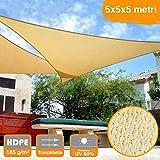 BAKAJI 2832413 Vela Telo Parasole, Tenda Triangolare Ombreggiante in Hdp, Resistente, Protezione UV 90%, Terrazzo con Aggancio, Occhielli Beige, 5 x 5 x 5 mt