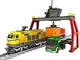 Modbrix Bausteine Verladeterminal mit Güterzug + 2 Güterwagen, LKW mit Container Auflieger, Verladekran und Schienen, 792 Bausteine