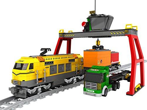 Modbrix Ladrillos verladet erminal con Tren de mercancías + 2güterwagen, Camiones con contenedor auflieger, verladekran y rieles, 792Ladrillos