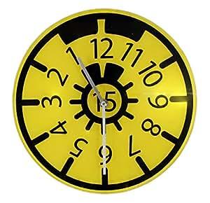 wanduhr t v plakette design gelb aus glas werkstattuhr hu r ckw rts uhr autohaus. Black Bedroom Furniture Sets. Home Design Ideas