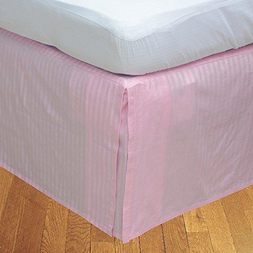 BudgetLinen 1pcs Box Jupe plissée de lit(Rose A_Rayures,Petite Chambre Double (4 pi x 6 pi 3\