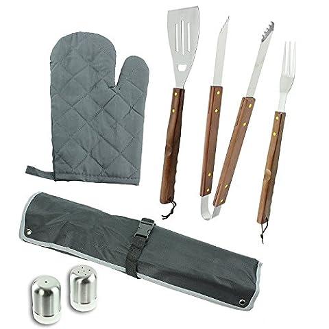 7Paquets ustensile Outil de cuisson de barbecue avec poignée en bois et ultime barbecue griller Tablier