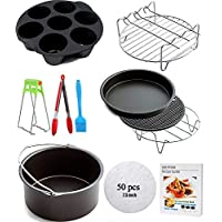 Ptsaying Air Fryer Accessories 10 sets +20 cookbook, air fryer basket baking pan, For Phillips, Gowise Universal XL power small Air Fryer Accessories Kit Fit All 3.2-5.3QT 7inch (7inch 10sets)