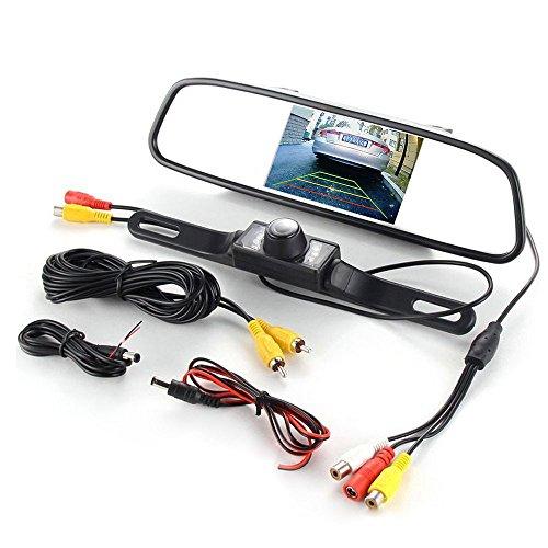 Monitor de espejo retrovisor TFT con clip de 4.3 pulgadas, pantalla LCD automática, reproductor de DVD de video con entrada AV 2CH y cámara de respaldo para asistencia de inversión de automóviles
