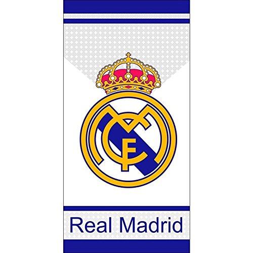 Toalla de Real Madrid, toalla de baño, toalla de playa 70x140cm (Blanco con España)