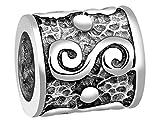 Nenalina Bali Traditionell Bead glänzend teilweise oxidiert 925 Sterling Silber, auch für Pandora Beads Armbänder, 719031-000