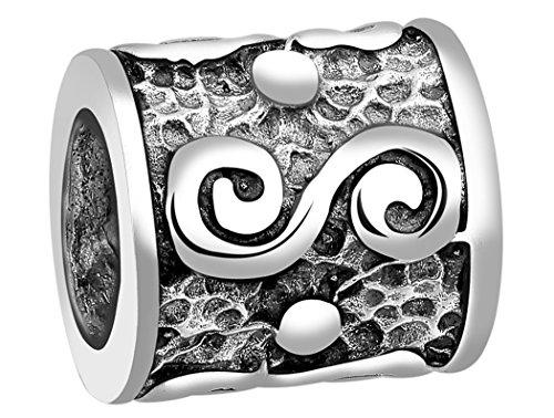 Nenalina Bali Traditionell Bead glänzend teilweise oxidiert 925 Sterling Silber, auch für Pandora Beads Armbänder, 719031-000 -