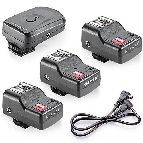 Neewer FM Radio, 16Kanäle, Set aus drahtlosem Fernauslöser mit Blitz, 1Sender + 3Empfänger + 1Kabel-Synchro für Canon 580EX II 580EX 550EX 540EZ 520EZ 430EX 420EX 430EZ 420EZ 380EX, Nikon SB-800SB-600SB-28SB SB SB-24, Olympus FL-50FL36, Pentax AF-540FGZ AF-360FGZ AF-400FT af-240FT, Sigma EF-500DG-Super EF-500DG ST EF-430, Sunpak Auto 2000DZ 622Pro 433AF 433D 383355AFM 344D 333D, Vivitar 285HV und andere Modelle mit Universal-Kralle (Vivitar Auto-blitz)