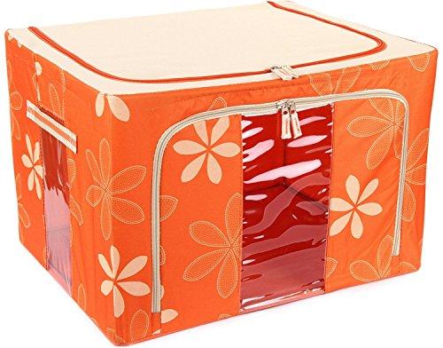 Everything Imported Jumbo Saree/Lehenga/Woolens Storage Box (66 Liters) Foldable Collapsible Wardrobe Almirah...