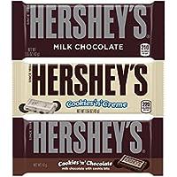 Hershey's Milk Chocolate Bar, 1.55-Ounce Bar, Hershey's Cookies 'n' Crème Bar, 1.55-Ounce, and Hershey's Milk Chocolate with Cookies 'n' Chocolate Bar, 40g