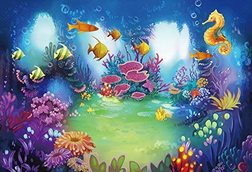 EdCott 5x3ft Märchen Unterwasser Cartoon Bunte Wasserfische Unter Meer Foto Zurück Tropfen Hintergrund Party Kinder Geburtstag Baby Shower Fotografie Vinyl Hintergrund Wohnkultur Dekoration Schießen